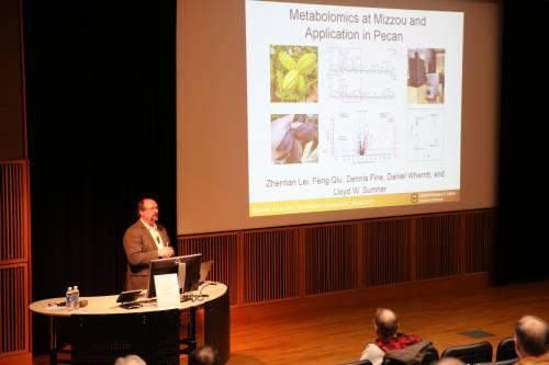 Lloyd Sumner, Metabolomics Center, University of Missouri, presents during the Agroforestry Symposium on Jan. 26.
