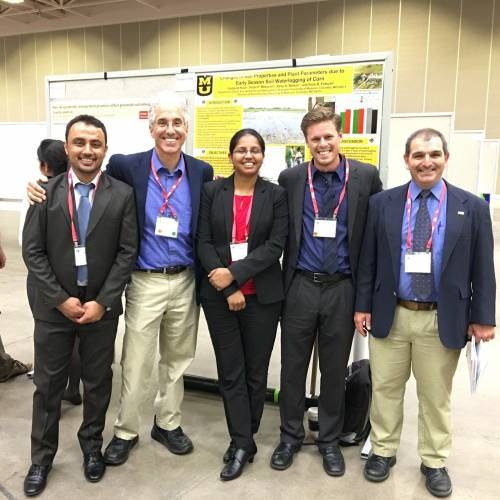 Habibullah Habiubullah stands with (from left); Peter Motavalli, Gurpreet Kaur, Theo Bluemenschein, and Kelly Nelson at the 2015 Soil Science Society of America meeting in Minneapolis.