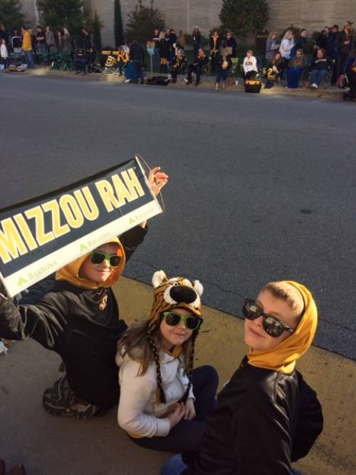 Manning's three children awaiting the University of Missouri homecoming parade. Photo courtesy of JD Manning.
