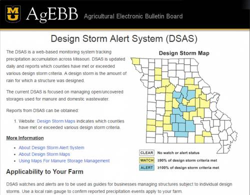 The homepage of the Design Storm Alert System website.
