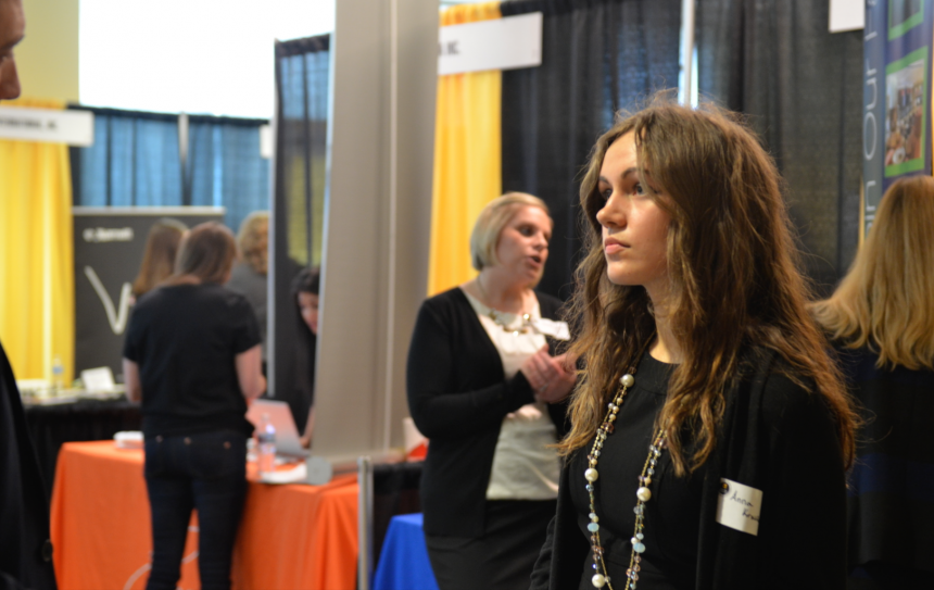 Student volunteers and industry professionals joined together to help the next generation of hospitality employees learn more about transitioning into the field during the 2017 hospitality management industry day.