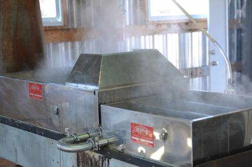 This larger evaporator can hold around 30 or 40 gallons of sap and allows for a quicker boil because of its size.