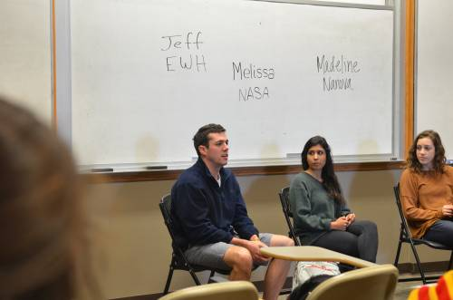 From left: Jeff Chininis, Melissa Lokugamage, and Madeline Simon at the student panel on internship for credit in Borgelt's professional development course. Photo by Max Goldner.