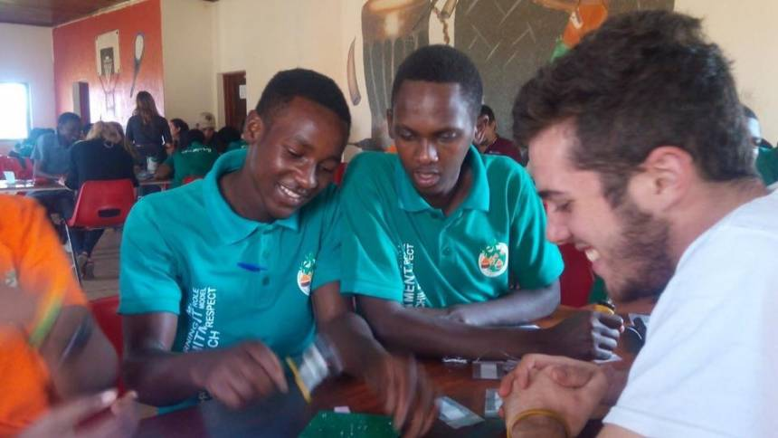 Towards the end of the first month of the internship, Engineering World Health set up a day where students traveled to an orphanage for high school aged kids who had lost parents during the Rwandan genocide. Chininis and the other interns put on a demonstration and showed the students how to make simple circuit boards. Photo courtesy of Jeff Chininis.