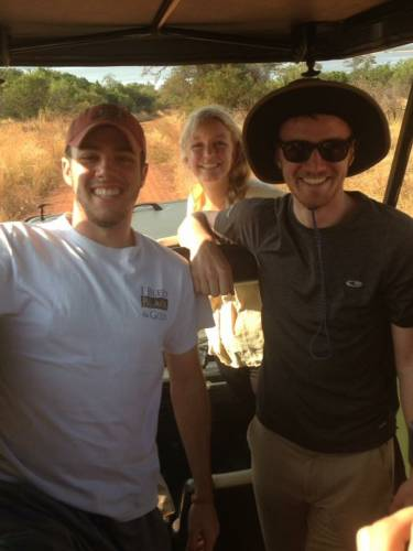 From left: Jeff Chininis, Maddy Bishop (TA for the Summer Institute), and Peter Dobbs (Marquette University) in the back of a jeep during a safari ride. Photo courtesy of Jeff Chininis.