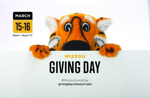 Truman the Tiger encourages people to save the date for Mizzou Giving Day