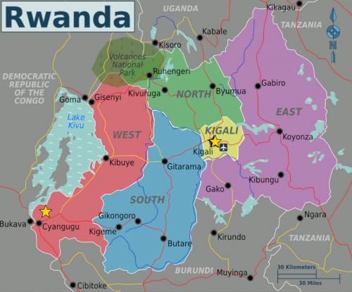 Rwanda, Africa. Stars represent locations where Chininis stayed, Kagalli and Kamembe. Photo from Wikimedia Commons.
