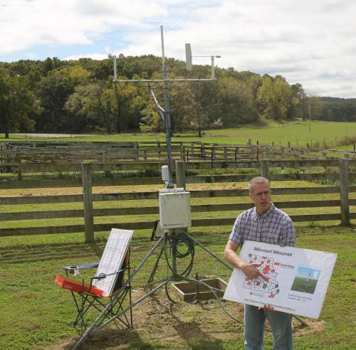 Pat Guinan travels throughout the state each year to educate local landowners and producers about the Missouri Mesonet.