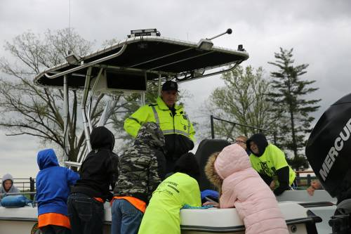 Corporal Darren Mueller, with the Missouri Highway Patrol, talked to local fifth grade students about water and boat safety.