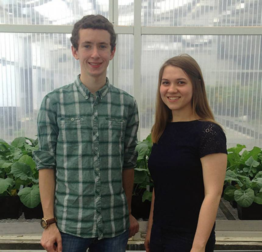 Alex Clarke and Julia Brose in the Freshmen Research in Plant Science program brochure.