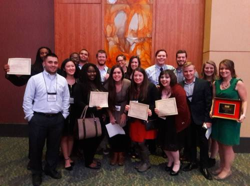Jason Young, front left, and Ellen Morris, front right, with scholarship recipients from Mizzou at the MPRA state conference, held in Branson in March 2017.