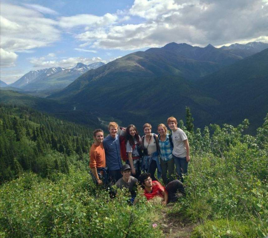 Patteson, back row third from left, and the seven members of her arctic research group. The group went on a backpacking trip to Denali National Park in Alaska.
