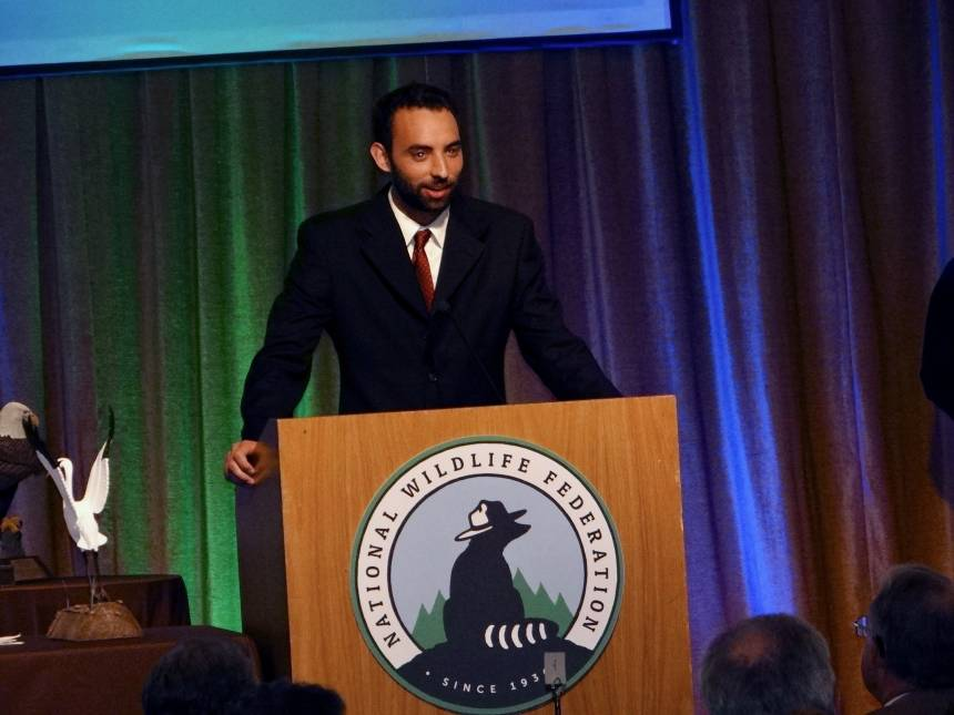 Calandro accepting his award at the National Wildlife Federation annual meeting in Stevenson, Washington. Photo courtesy of David Calandro.