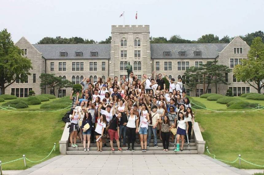 Patteson, front row first from left, in front of Korea University on her study abroad trip during fall of 2015.