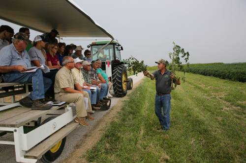 Reid Smeda, professor of plant sciences, presents to attendees of last year's Greenley Research Center field day.