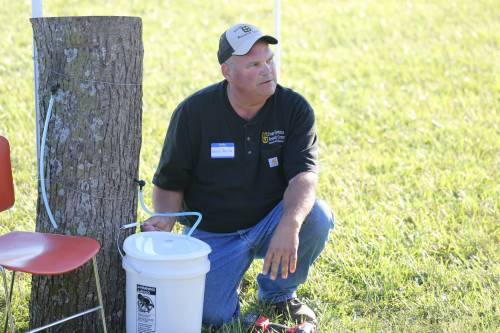 David Davis, superintendent of the Forage Systems Research Center near Linneus, presented on how to tap trees for sap.