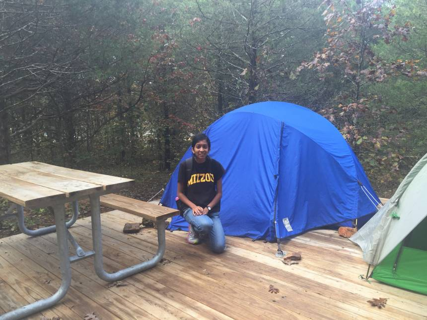 Vidya Balasubramanyam on a camping trip while attending a meeting on behalf of MU's parks recreation and tourism department.