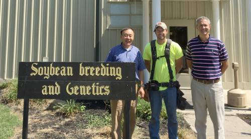 Eric Gooding travels across the state, working at various CAFNR Agricultural Research Centers. Gooding is pictured here at the Fisher Delta Research Center with Pengyin Chen (left) leader of the soybean breeding team at Fisher Delta, and Director Trent Haggard (right).