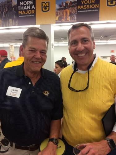 Michael Dougherty, SNR Advisory Council Executive Board member, meets with CAFNR Vice Chancellor and Dean Christopher Daubert at the Missouri State Fair in August 2017.