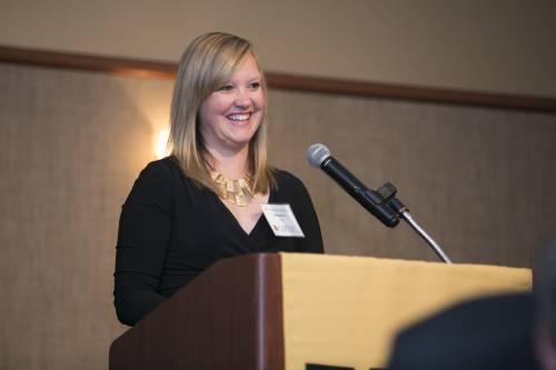 CAFNR alum Samantha Wilkerson Davis speaks at the CAFNR Scholarship Dinner