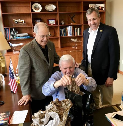 Al McQuinn visits with the former Vice Chancellor and Dean of the College of Agriculture, Food and Natural Resources, Tom Payne (left), and the current Vice Chancellor and Dean, Christopher Daubert.