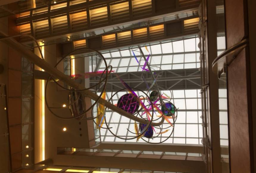 Joy of Discovery artwork in the Bond Life Sciences Center.