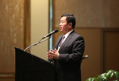 Mun Choi, president of the University of Missouri System, spoke during the 20th anniversary celebration.