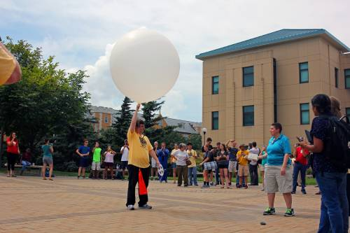 The School of Natural Resources launched a weather balloon on campus during the eclipse. Photo by Jacob Shipley.