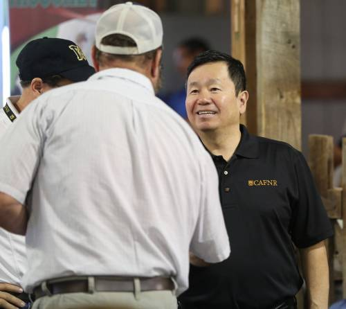 University of Missouri System President Mun Choi was on hand during the Greenley field day, meeting with guests and presenting during the free lunch.