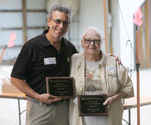 Marc Linit and Linda Herron were both given Friends of the Farm awards during this year's Graves-Chapple Research Center field day.