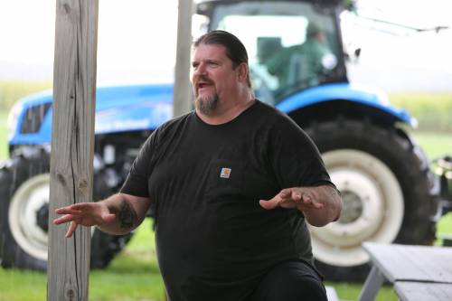 Carl Blake II, who has been featured on The Colbert Report, discussed how he became a producer of Iowa Swabian Hall pigs during the Hundley-Whaley Research Center twilight tour.