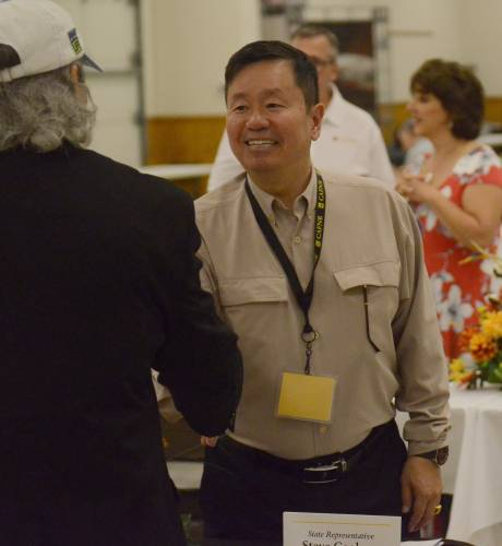 President of the UM System Mun Choi met with guests and spoke during the 57th Fisher Delta Research Center field day.
