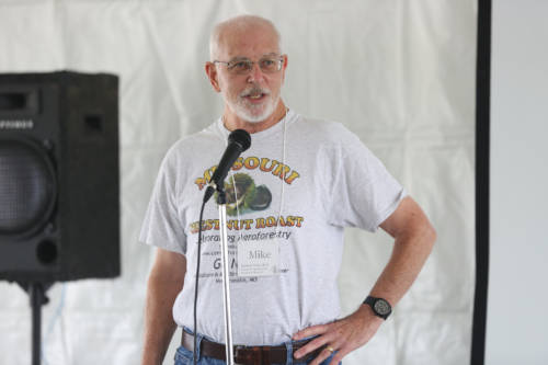 Mike Gold, interim director for the MU Center for Agroforestry (UMCA), opened the Missouri Chestnut Roast Festival with a UMCA 20th anniversary kick-off ceremony under the main tent.