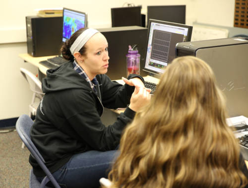 Paula Sumrall, a senior in atmospheric science, was one of two students to earn the internship this semester. The students in the course are at the beginning stages of forecasting. Sumrall is helping guide the students along, as she has participated in the course before.