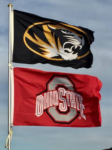 The tailgate features a unique staple -- an Ohio State University flag. Garton has degrees from MU and Ohio State. Photo courtesy Bryant Garton.