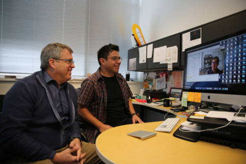 David Mendoza-Cozatl is working with Scott Peck (left) and Dmitri A. Nusinow (on computer screen) on the grant. Peck is a professor of Biochemistry at MU. Nusinow is an assistant member and principal investigator at the Danforth Center. Mendoza-Cozatl is the principal investigator on the grant. Peck and Nusinow are co-principal investigators. Mendoza-Cozatl and Nusinow know each other from their work as post-docs at the University of California, San Diego.