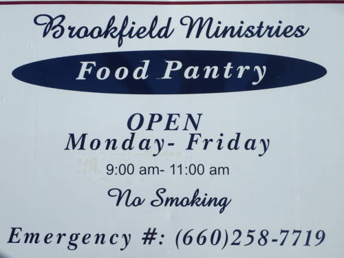 Brookfield Ministries Food Pantry is located in Brookfield, Mo. The group distributes a variety of food throughout the Linn County area. Photo courtesy David Davis.