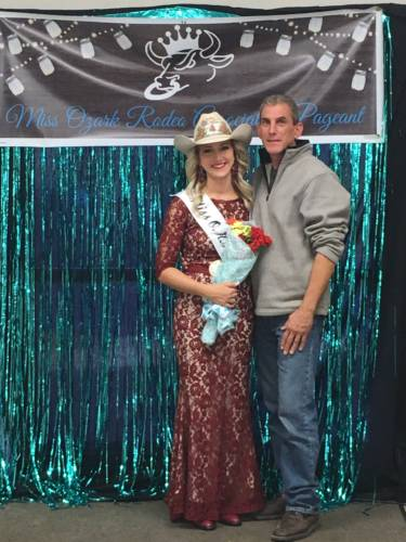 Haley Linder and her dad, Joe Linder, after being crowned Miss Ozark Rodeo Association.
