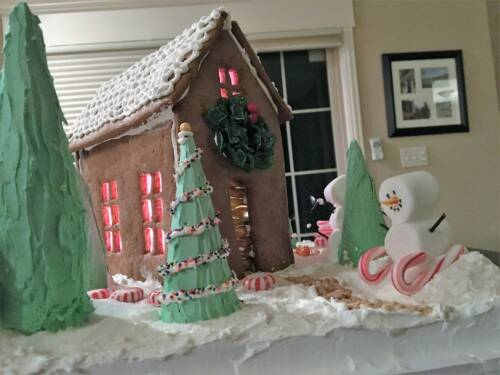 "Kristen Smarr's first gingerbread house, ""Woodland Christmas Cottage."""