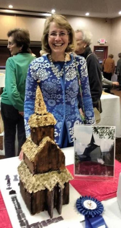 "Shari Freyermuth with her ""Norwegian Stave church"" entry from 2016."