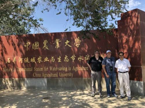 The trip to China was a byproduct of a large National Science Foundation (NSF) grant earned by the University of Missouri. Two years ago, a group from MU was awarded a four-year, $4.2 million grant by NSF to study the physiological genomics of maize nodal root growth under drought. The principal investigator on the grant is Bob Sharp (left), professor in the Division of Plant Sciences and director of the Interdisciplinary Plant Group (IPG). Christopher Daubert (center) and Shaozhong Kang are also pictured. Photo courtesy of Bob Sharp.