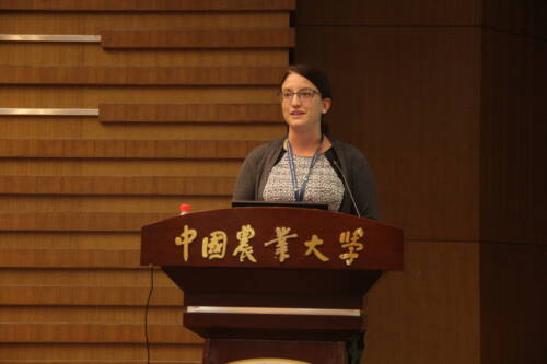 Rachel Owen speaks during the visit to China. Photo courtesy of Bob Sharp.