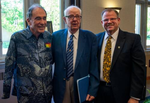 """Mel West (middle) and Albert """"Albie"""" Sachs (left) both recently earned honorary degrees from Mizzou. Photo courtesy University of Missouri."""