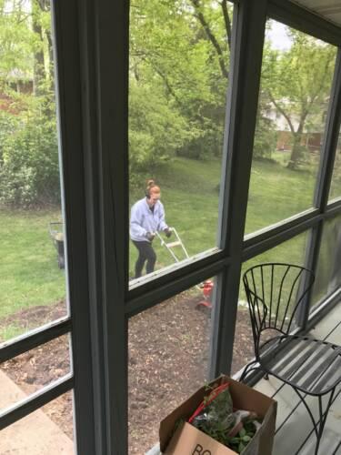 Stefanie tills her future garden plot in early 2017. Photo courtesy of Stefanie Gray.