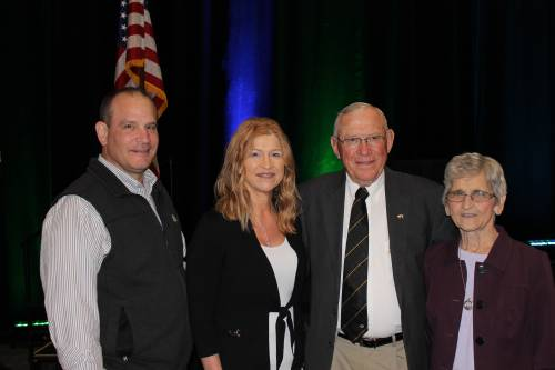 Everett Forkner being inducted into National Pork Producers Council Hall of Fame. Photo courtesy of National Pork Producers Council.