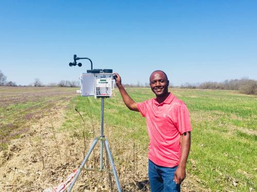 Al-Awwal's current research focuses on investigating transport of fluorescence labeled E. coli in agroforestry buffer and row crop soils. He is also developing a nano-biosensor that can rapidly detect E. coli O157:H7 in water and food samples. E. coli O157:H7 is a pathogen that causes disease from consumption of contaminated food and water. Al-Awwal's interests include evaluating selected conservation management systems and how they can be used to mitigate the effect of E. coli transport in soil and their effects on water quality. Photo taken by Lalith Rankoth and courtesy of Nas Al-Awwal.