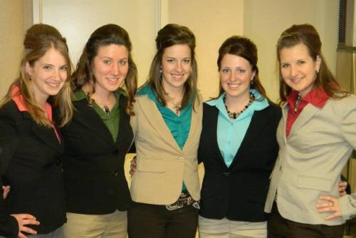 Martin was part of the MU livestock judging team during her time in CAFNR. She is pictured here (center) with her teammates. Photo courtesy of Elaine Martin.