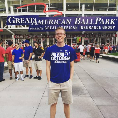 Ben getting ready to cheer on the Royals at the Great American Ball Park in Cincinnati.
